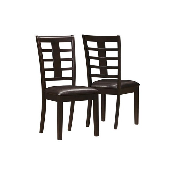 Cappuccino Bonded Leather Cross Back Chairs (Set of 2)