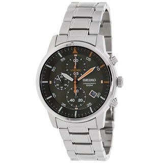 Seiko Men's Silver Stainless Steel and Green Dial Quartz Watch