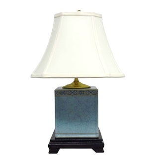 Light Blue with Trim Box 1-light Gold Table Lamp