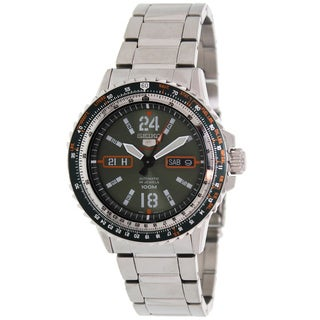 Seiko Men's Silver Stainless Steel and Green Dial Automatic Watch