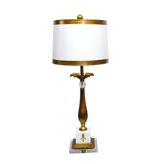 White Fleur De Lis 1-light Gold Table Lamp