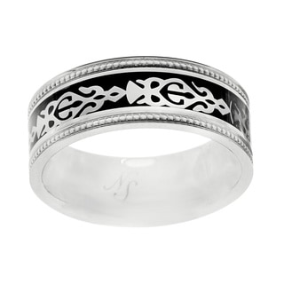 Men's Stainless Steel Aztec Carbon Fiber Inlay Band