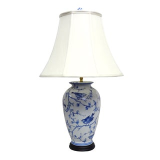 Blue/ White Secret Garden Birds 1-light Gold Table Lamp