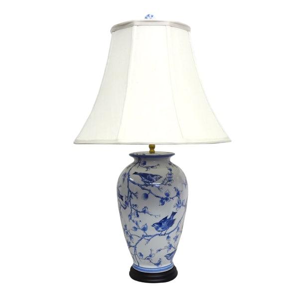 Blue/ White Secret Garden Birds 1-light Gold Table Lamp