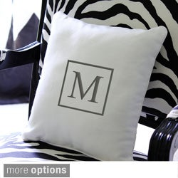 Monogrammed Square Initial 12-inch Throw Pillow