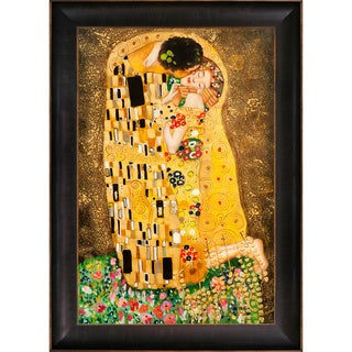 Gustav Klimt 'The Kiss' Hand Painted Framed Canvas Art