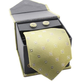 Ferrecci Men's Lime Green Boxed Necktie and Cufflinks