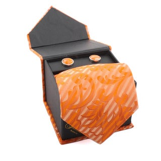 Ferrecci Men's Orange Floral Boxed Necktie and Cufflinks