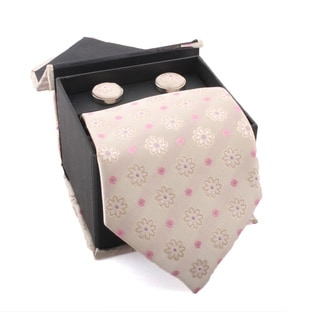 Ferrecci Men's Beige/ Pink Floral Boxed Necktie and Cufflinks