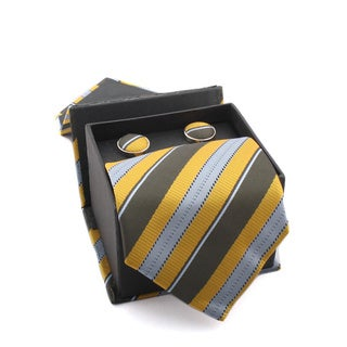 Ferrecci Men's Yellow/ Grey Stripes Boxed Necktie and Cufflinks
