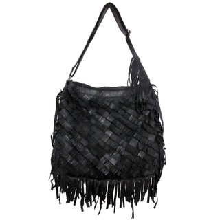 Amerileather 'Talen' Black Angel Hair Leather Fringe Handbag