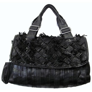 Amerileather 'Nino' Black Angel Hair Leather Fringe Shoulder Bag