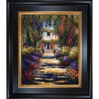 Claude Monet 'Garden Path at Giverny' Hand Painted Vertical Framed Canvas Art