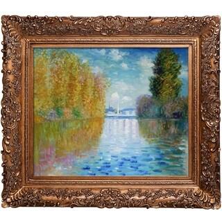 Claude Monet 'Autumn at Argenteuil' Hand Painted Framed Canvas Art