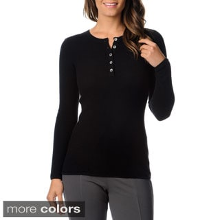 Ply Cashmere Women's Long Sleeve Crew Neck Pullover Henley