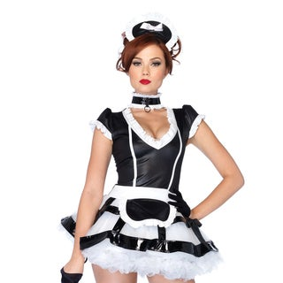 Leg Avenue Women's Mistress Maid Apron Dress,Choker, and Headband