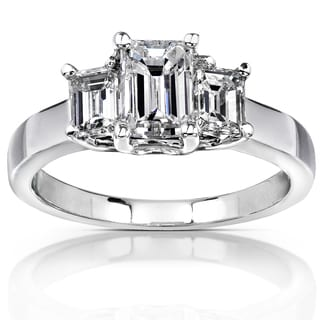 Annello 14k White Gold Certified 1 3/5ct TDW Emerald-cut Diamond Ring (F-G, SI2) (GGL)