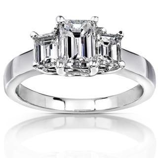 Annello 14k White Gold Certified 1 3/5ct TDW Emerald-cut Diamond Ring (F-G, SI2) (GGL)