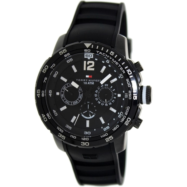 Tommy Hilfiger Men's Black Silicone and Black Dial Analog Quartz Watch
