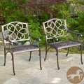 Christopher Knight Home McKinley Cast Aluminum Bronze Outdoor Chairs (Set of 2)