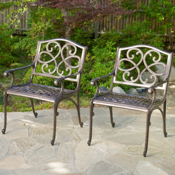 Christopher Knight Home McKinley Cast Aluminum Bronze Outdoor Chairs