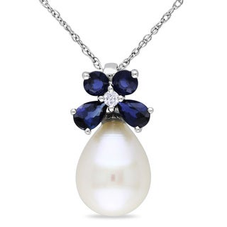 Miadora 10k White Gold Pearl, Sapphire and Diamond Necklace (8.5-9 mm)
