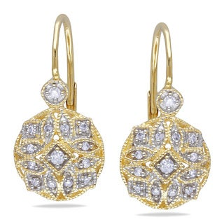 Miadora 14k Yellow Gold 1/8ct TDW Diamond Earrings (G-H, I1-I2)
