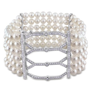 Miadora 14k White Gold Akoya Pearl 1 1/2ct TDW Diamond Bracelet (G-H, SI1-SI2) (5-5.5 mm)
