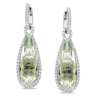Miadora 14k White Gold Green Amethyst 1ct TDW Diamond Earrings (G-H, SI1-SI2)