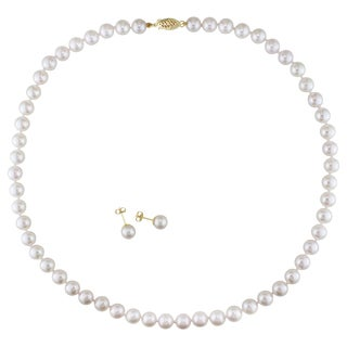 Miadora 14k White Gold Cultured Akoya Pearl Earring and Necklace Set (6.5-7 mm)