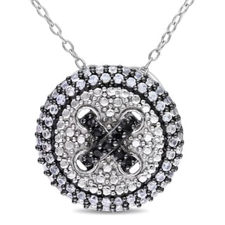 M by Miadora Sterling Silver Created White Sapphire and Black Spinel Halo Necklace
