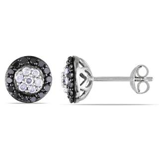 Miadora Sterling Silver 1/2ct TDW Black and White Diamond Halo Earrings (H-I, I2-I3)