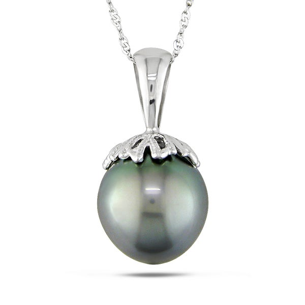 Miadora 14k White Gold Tahitian Black Pearl Necklace (10-10.5 mm)