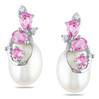 Miadora 10k White Gold Pearl, Pink Sapphire and Diamond Earrings (H-I, I2-I3) (7-8 mm)