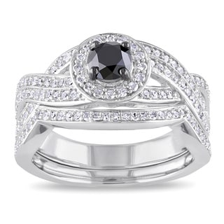 Miadora Sterling Silver 1ct TDW Black and White Diamond Bridal Ring Set (H-I, I2-I3)