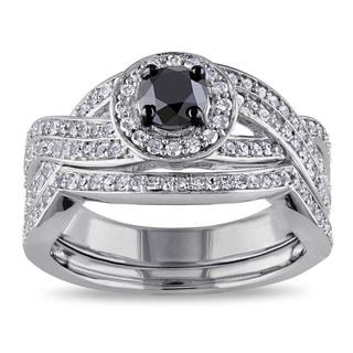 Miadora Sterling Silver 1ct TDW Black and White Diamond Bridal Ring Set (H-I, I2-I3)