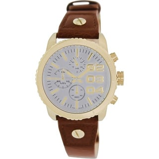 Diesel Men's Brown Leather and White Dial Analog Quartz Watch