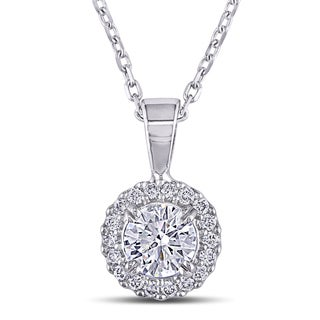 Miadora 14k White Gold 5/8ct TDW Diamond Halo Necklace (G-H, SI1-SI2)