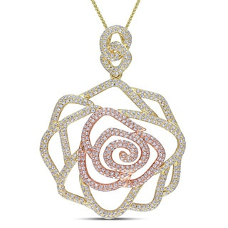 Miadora Signature Collection 14k Two-tone Gold 1 4/5ct TDW Diamond Rose Necklace (G-H, SI1-SI2)