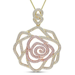 Miadora 14k Two-tone Gold 1 4/5ct TDW Diamond Rose Necklace (G-H, SI1-SI2)