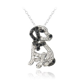 Icz Stonez Sterling Silver Cubic Zirconia Dog Necklace