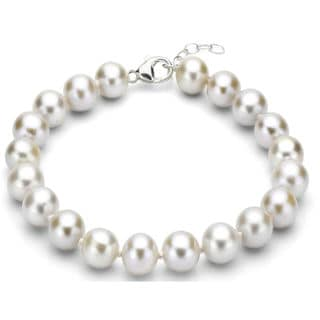 DaVonna Sterling Silver White Round Freshwater Pearl Bracelet (11-12 mm)
