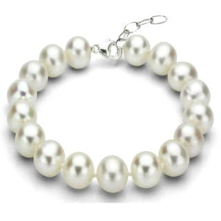 DaVonna Sterling Silver White Round Freshwater Pearl Bracelet (13-14 mm)