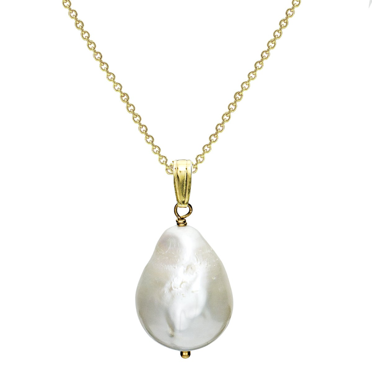 DaVonna 24k Gold over Silver FW Pearl Necklace (12-17 mm)