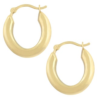 Fremada 10k Yellow Gold Oval Hoop Earrings