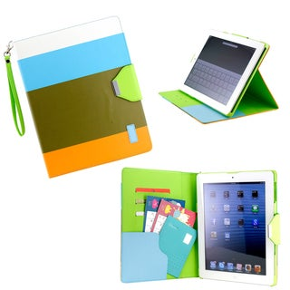 Gearonic Multi Color Blue PU Leather Card Holder Case for iPad 2 3 4