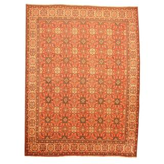 Antique 1960's Persian Hand-knotted Mahal Red/ Ivory Wool Rug (9'9 x 13')