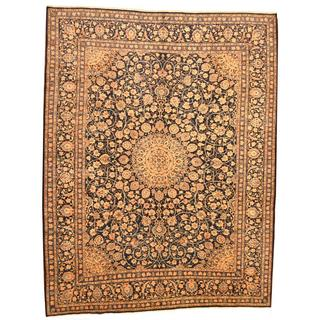 Persian Hand-knotted Mashad Navy/ Ivory Wool Rug (10' x 12'10)