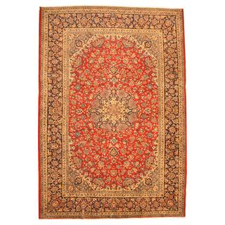 Herat Oriental Persian Hand-knotted Isfahan Red/ Navy Wool Rug (9'10 x 14'3)
