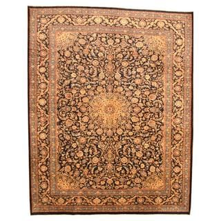 Persian Hand-knotted Mashad Navy/ Ivory Wool Rug (10' x 12'6)
